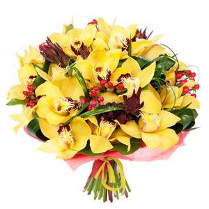 """""""Нежность орхидей"""". Букет цимбидиум желтого оттенка"""